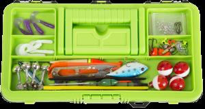 Wakeman Fishing Tackle Box and 55 Pc Tackle Kit